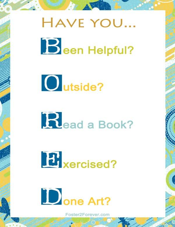 What To Do When Your Kid Says I M Bored Printable Chart