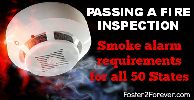 Here are the requirements for smoke detectors to pass a fire inspection in all 50 states. Great resource for licensing foster homes.